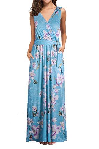 Petite Maxi Dresses for Women Summer Sleeveless Crossover Long Dresses Light Blue XL