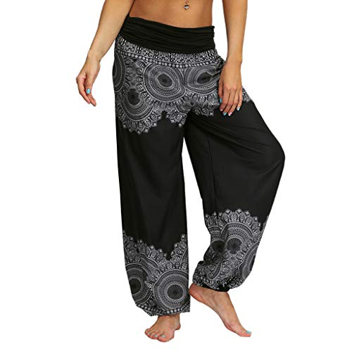 Men Women Bohemian Tapered Elephant Harem Loose Yoga Travel Lounge Baggy Boho Aladdin Pants (XL, Black)