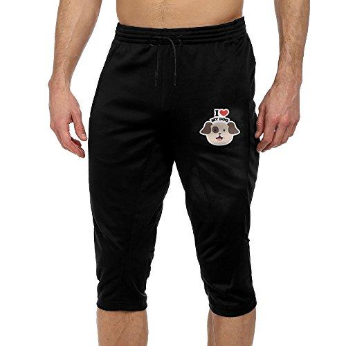 I Love My Dog Men's Casual Drawstring Capri Jogger Activewear Lounge Pants Capri Pants Black