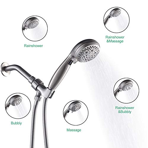 LORDEAR Luxury Large High Pressure 6 Setting Water Flexible Removable Rain Message Detachable Handheld Shower Head Set with Holder, 3.5'' Shower Head with 60'' Stainless Steel Hose, Brushed Nickel by Lordear (Image #3)