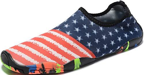 Mens Womens Water Shoes Quick Dry Barefoot for Yoga Swim Diving Surf Aqua Sports Pool Beach (USA Flag 37)