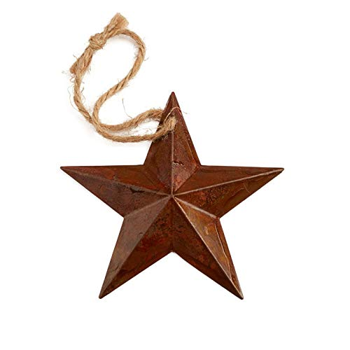 (Factory Direct Craft Primitive Rusty Tin Barn Star Ornament | 6 Pieces)