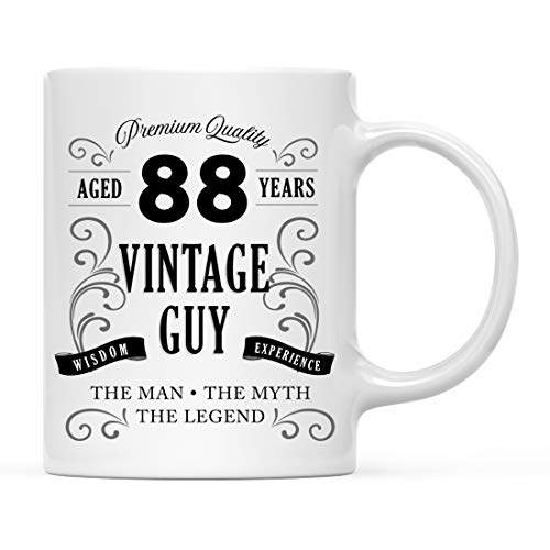 Andaz Press 11oz. Coffee Mug Birthday Gift for Men, Aged 88 Years, Whiskey Bottle Design, 1-Pack, 88th Birthday Gift Ideas for Brother, Son, Husband, Uncle ()