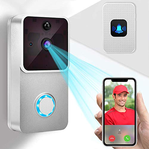 - KUKUDIJIE Indoor Chime/Night Vision/Two-Way Audio/166° Wide Angel/PIR Motion Detection Video Doorbell 1080P HD Camera/2 Rechargeable Battery/for iOS & Android