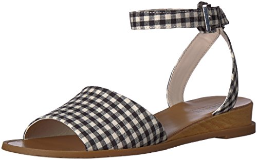 (Kenneth Cole REACTION Women's Jolly Low Wedge Sandal with Ankle Strap, Black/White, 8.5 M)