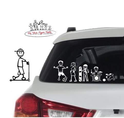 White My Stick Figure Family Car Window Vinyl Stickers Boy Scooter B9