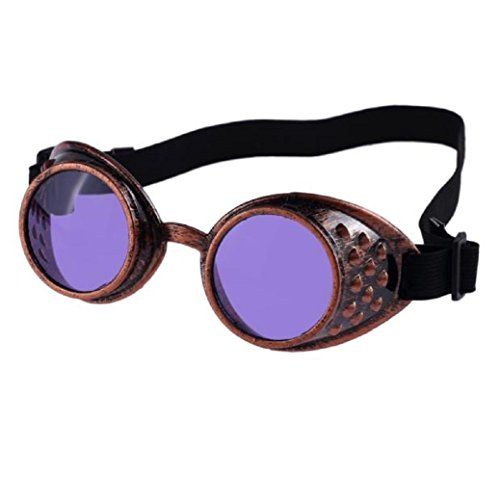 TIFENNY Vintage Style Steampunk Goggles Welding Punk Glasses Cosplay (Black, - Steampunk Goggles Purple