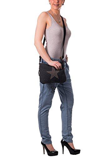 Gadzo tuckt de Estampado Bolso Funda de de Bolso señoras las hombro con Oliva 0151 Pequeño lona Estrella 4Spqg4w