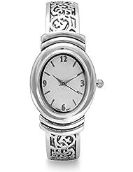 Womens Oxidized Scroll Design Hinged & White Dial Fashion Cuff Watch