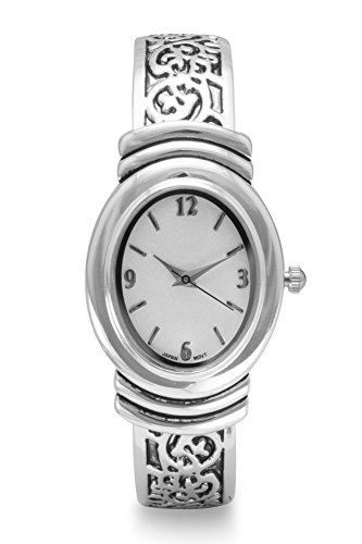 (Geneva Womens Oxidized Scroll Design Hinged Fashion Cuff Watch White Dial W9132)