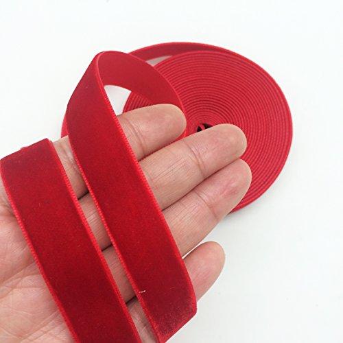 PEPPERLONELY 5 Yards Single Face Velvet Ribbon 16mm (5/8 Inch), Red
