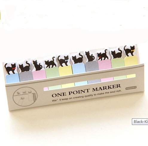 Schoolsupplies Black Kitty Cat Mini 150 Pages Bookmark Post Index Tab Sticky Notes