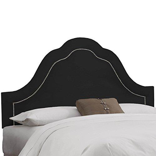 Skyline Furniture Velvet Black Arch Nail Button Headboard Queen Arch Nail Button Headboard