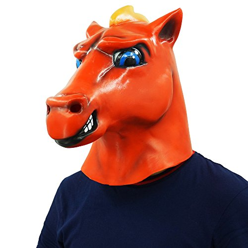 Red Horse Head Mask Animal Party Helmet Cosplay Halloween Props by Lucky Lian (Image #6)
