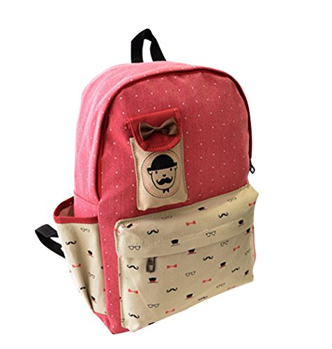 Fansela(TM) Cute Spot Canvas School Backpack Travel Laptop Bags For Girls Pink