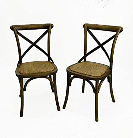 The King's Bay Old Vintage Style Wood Iron and Rattan Cane Seat CHAIR PAIRS Antique  Style - Amazon.com - The King's Bay Old Vintage Style Wood Iron And Rattan