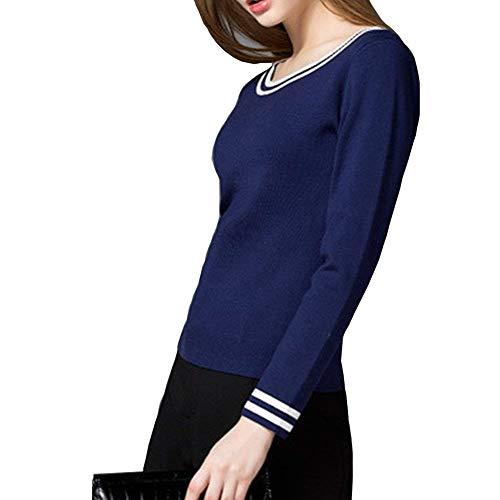 Bluse Elegante Blau Tops A Felpe Autunno Haidean Casual Tshirt Lunghe Maglione Donna Fashion Corto Rotondo Camicia Base Shirts Collo Glamorous Semplice lange Camicetta Maniche Primaverile Ewxqqf1F