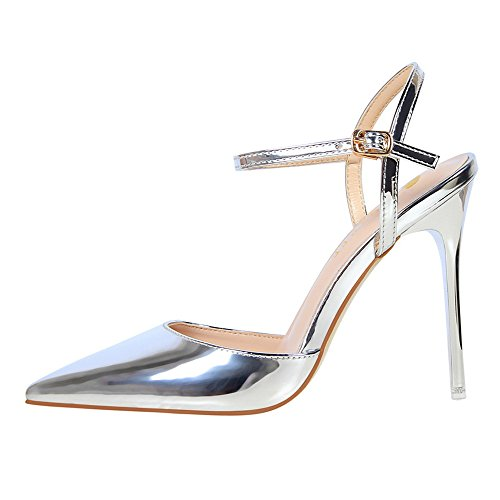 mit hohem aus Nachtclub spitz Mund Sandalen und XIAOQI mit Damen Silber schlicht amerikanischer Lackleder sexy Stil sexy Sandalen LIANGXIE europäischer dünn 4nqC8xcWxz