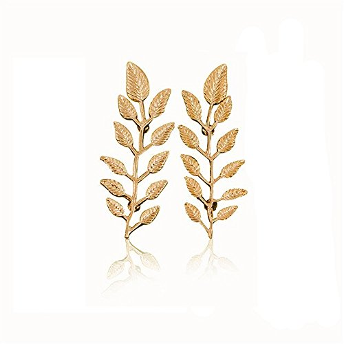 Gold Leaf Brooch Pin (METTU Gold and Silver Colors Branch Leaves Brooch Pin Lapel Pin Fashion Jewelry for Women (Gold))