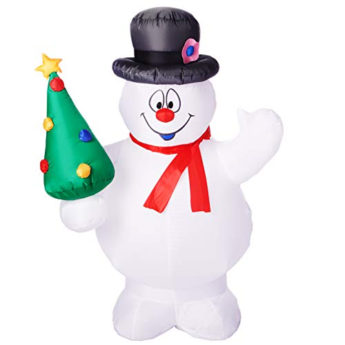 Gemmy Airblown Christmas Indoor/Outdoor Frosty The Snowman Holding a Christmas Tree 5Ft. Tall