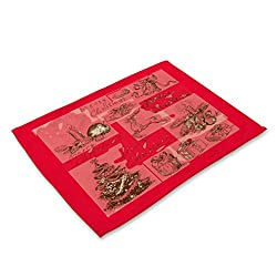 XEDUO Christmas Bowl Fork Placemat Mat Decoration Home Party Dining Table (B)