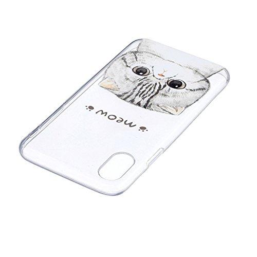 iPhone X Hülle Süße Katze Premium Handy Tasche Schutz Transparent Schale Für Apple iPhone X / iPhone 10 (2017) 5.8 Zoll Mit Zwei Geschenk
