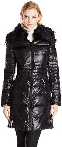 Black Small Vince Camuto Womens Mid-Length Down Coat with Faux Fur Collar