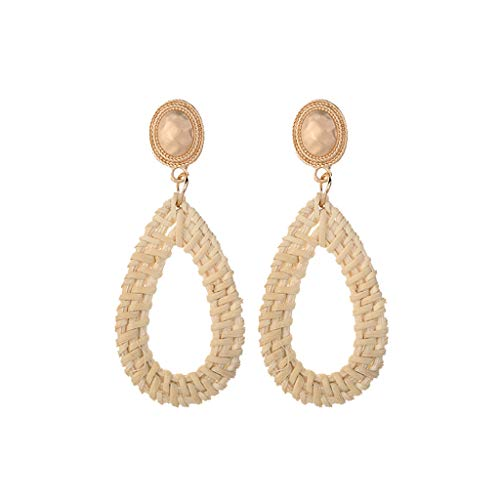 QIUUE HOT ! Bohemian Retro Style Pearl Simple Fashion Handmade Rattan Geometric Drop Ladies Jewelry Birthday Dating Gift ()
