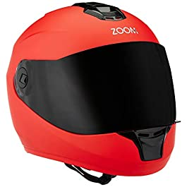 Steelbird Hi-Gn SBH-11 Zoom Glossy Full Face Helmet with Smoke Visor, 58CM Matt Black
