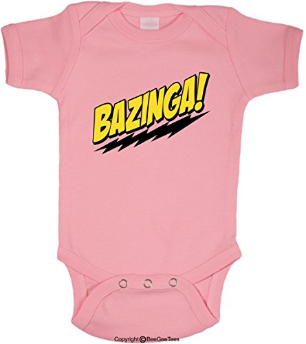 (BeeGeeTees Bazinga Funny Romper Onesie Soft Baby Bodysuit Big Bang Theory (6 Months,)