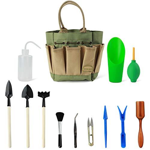 GOOD GAIN Garden Succulent Kit with Organizer Bag,Indoor Mini Hand Gardening Tool Set, 13 Pieces Tools for Bonsai Planter Miniature Fairy Planting Care