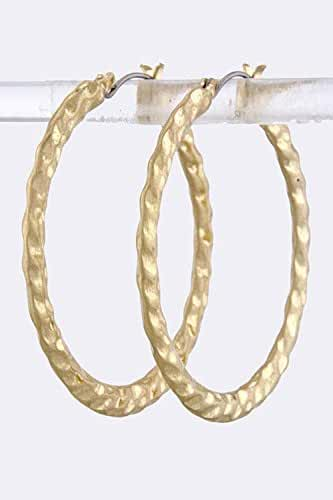 TRENDY FASHION JEWELRY HAMMERED METAL HOOP EARRINGS BY FASHION DESTINATION