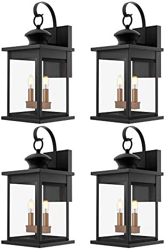 Sunco Lighting 4 Pack Two-Light Outdoor Wall Lantern, Matte Black, Clear Glass Shade, Dusk-to-Dawn Photocell Sensor, Exterior Wall Sconce, Candelabra Bulbs E12 Base x 2 , Waterproof, Porch, Patio