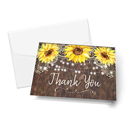 Country Lace and Sunflower Thank You Cards, Rustic Elegant for Wedding Rehearsal Dinner, Bridal Shower, Engagement, Birthday, Bachelorette Party, Baby Shower, Reception, Anniversary, Housewarming -