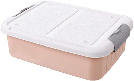 QXTT Caja De Almacenamiento Multiusos Bajo Cama Ruedas Plástico con Tapa para Ropa De Cama Libro Merienda,Pink-S: Amazon.es: Hogar