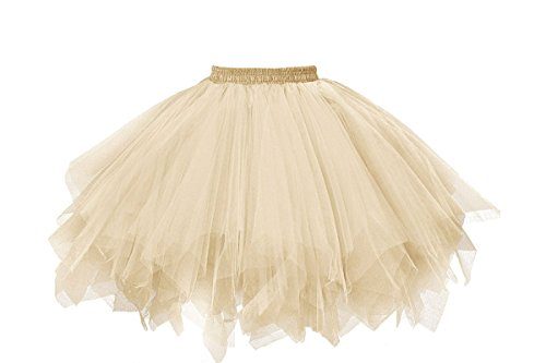 (Musever 1950s Vintage Ballet Bubble Skirt Tulle Petticoat Puffy Tutu Champagne Small/Medium)