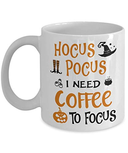 Best Halloween Costumes Gift - Hocus Pocus I Need Coffee To Focus Mugs Print - 11oz Large Novelty C-Shape Handle Tea Cup - Birthday Special Occasion Gift for Women Kid - Pumpkin Jack-o'-lantern