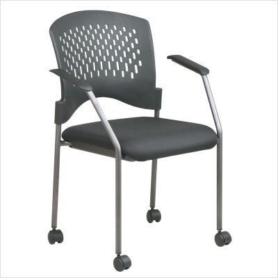 Office Star Rolling Visitors Chair with Plastic Contour Back Charcoal (8640 Rolling Visitors Chair)