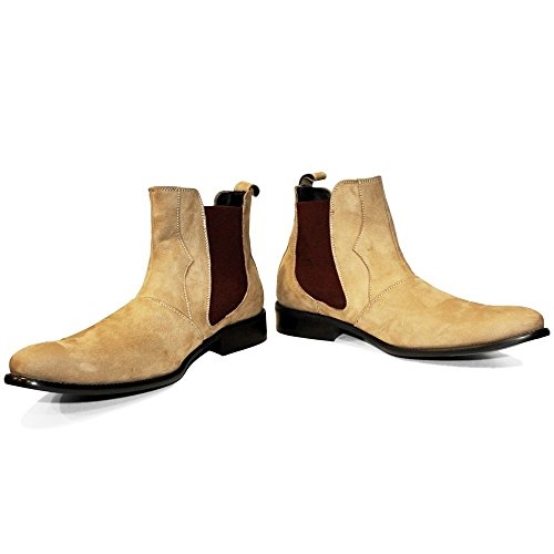 PeppeShoes Modello Lethero - 11 US - Handmade Italian Mens Brown Ankle Chelsea Boots - Cowhide Suede - (Italian Handmade Brown Leather Boots)