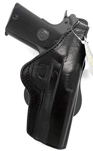 TAGUA Premium Deluxe Right Hand Rotating Paddle and Belt Holster with Reinforced Thumb Break in Black Leather for COCKED & LOCKED 5