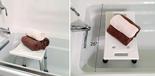 Ez2care Adjustable Lightweight Shower Bench,White, 12.5 to 18 inch