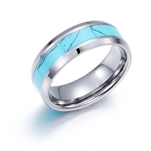 Blue Turquoise Inlay Ring - NELSON KENT 8mm Tungsten Metal Ring Blue Turquoise Inlay Polish Beveled Edge Wedding Band,Size 13
