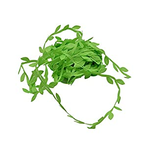Awesome-experience 10 Meter Silk Leaf-Shaped Handmade Artificial Green Leaves for Wedding Decoration Wreath Gift Scrapbooking Craft Fake Flower,Light Green 38