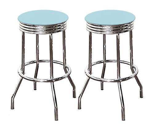 Amazon Com The Furniture Cove Bar Stool Set With 2 24 Quot Tall Swivel Seat Retro Style Chrome Metal Finish Stools With Vinyl Covered Seat Cushions