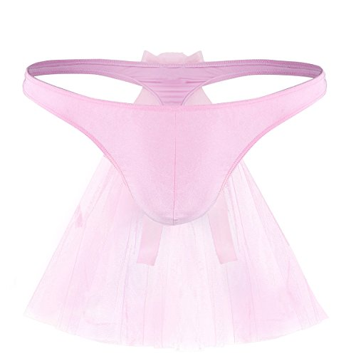 Rise Bridal Bow Thong Low (Agoky Funny Underwear for Men Bikini Briefs Sissy Panties G-String Thong with Mesh Veil Pink X-Large (Waist 32.0