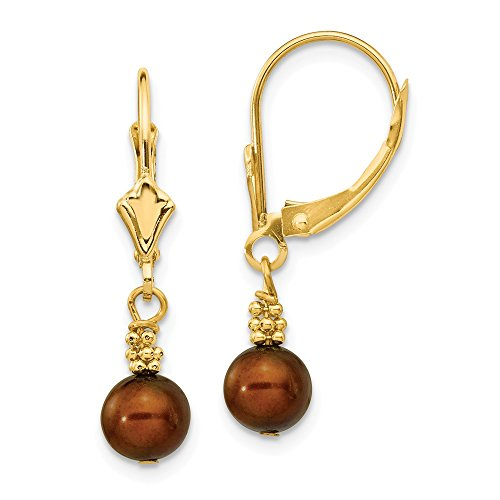 Gold Pearl Fw Brown (14K Yellow Gold 5-6mm Coffee Brown Semi-round FW Cultured Pearl Leverback Earrings)