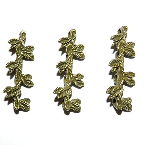 Antiqued Bronze 30mm Leaf Branch 7-Strand Spacer Bar Metal Beads 50pc #ID-4799