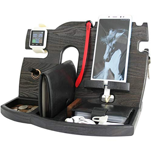 Cell Phone Stand Watch Holder. Men Wireless Device Dock Organizer Wood Mobile Base Nightstand Charging Docking Station. Women Accessories Wooden Storage. Funny Bed Side Caddy Valet Happy Birthday Gift from BarvA