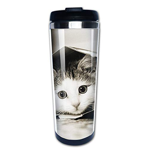 Markui Travel Coffee Mug Little Kitty in Box Stainless Steel Insulated Coffee Cup Sport Water Bottle 13.5 Oz -