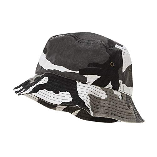 Bandana.com 100% Cotton Bucket Hat for Men, Women, Kids - Urban Camo - Single Piece - Large/Extra Large Size - Summer Cap Fishing Hat